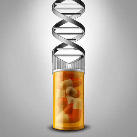 Genetic medicine with a prescription pill bottle shaped as a DNA double helix as a gene therapy concept as a chromosome science symbol and genome biotechnology treatment as a 3D illustration.