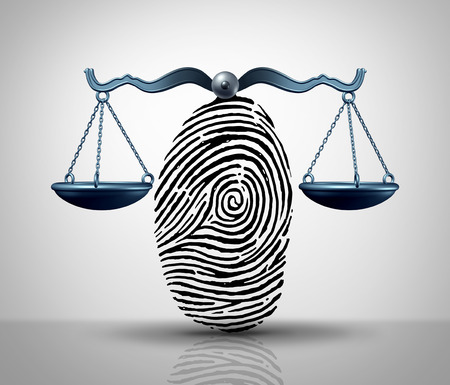 Identity law justice concept as a finger print or finger print shaped as a legal court scale as a lawyer or attorney services metaphor or hacking and hacker symbol with 3D illustration elements.