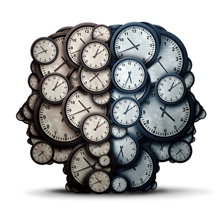Denkendes Zeitsitzungskonzept als eine Gruppe von Uhrgegenständen geformt als zwei menschliche Köpfe als Geschäftspünktlichkeits- und Ernennungszusammenarbeitsmetapher oder Termindruckmannschaft und Überstundenzusammenarbeitsikone als Illustration 3D.