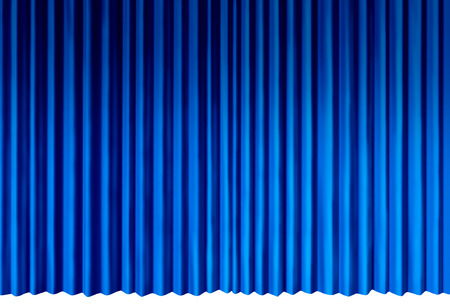 Blue Curtains object as indigo cool velvet drapes representing theatrical entertainment stage isolated on a white background as a 3D illustration. Фото со стока - 85708810