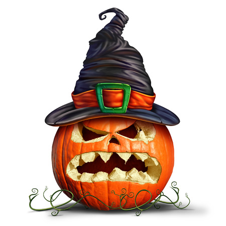 Pumpkin wearing a witch hat as an oprange monster with a scary character on a white background as an autumn concept and symbol for a creepy advertisement and halloween marketing with 3D illustration elements.