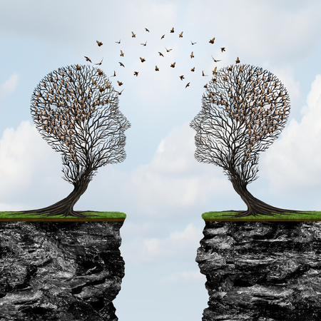 surrealistic: Communicating from distance as two trees shaped as a human head with birds in transit across cliffs as a business metaphor for commerce reach with 3D illustration elements.