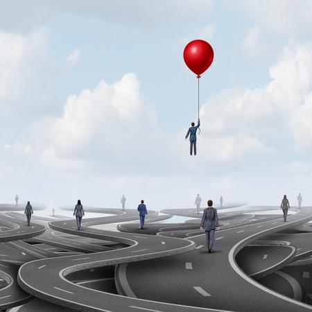 Concept de leadership d'entreprise en tant que personne sur une route marchant sur des voies comme un symbole pour la nouvelle pensée stratégique avec des éléments d'illustration 3D. Banque d'images - 85708814