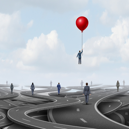 Concept of business leadership as people on a road walking on pathways as a symbol for new strategic thinking with 3D illustration elements.
