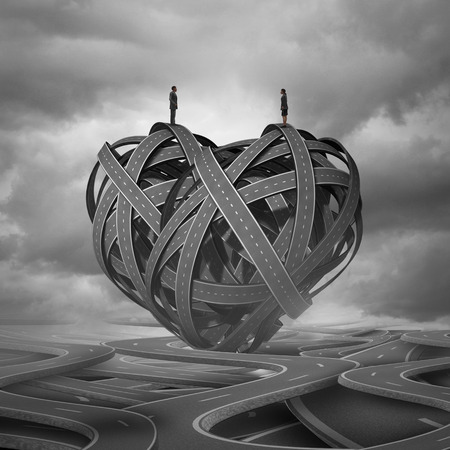 Find Love and a complicated romantic relationship concept as a man and woman on a group of road paths shaped as a heart as a dating or marriage symbol with 3D illustration elements.