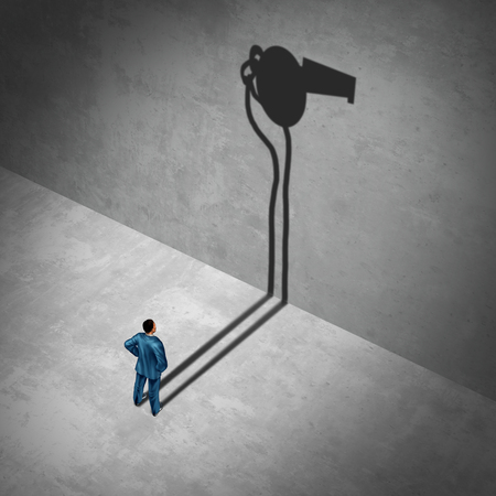 Whistleblower employee or whistle blower concept as a mole symbol of a secret informer agent posing as an informant worker with his cast shadow of a whistle as a metaphor for inside information on misconduct with 3D illustration elements Stock Photo