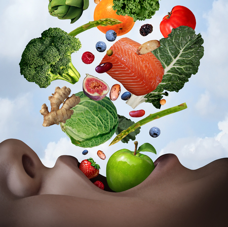 Healthy food diet concept as an open human mouth with nutritious fresh ingredients falling inside as salmon nuts berries beans vegetables and fruit as a dietary and wellness lifestyle in a 3D illustration style.