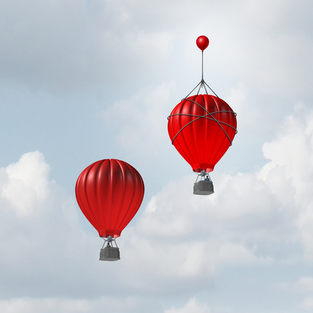 Concept of advantage and competitive edge as two hot air balloons racing to the top but a leader with a small balloon attached giving the winning competitor an extra boost to win the competition with 3D illustration elements.