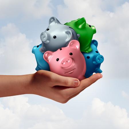 재무 관리 개념으로 다양 한 돼지 저금통의 그룹을 들고 손으로 부채 강화 신용 대출 및 저축 예산 및 3D 그림 요소와 재정 관리를 결합합니다.