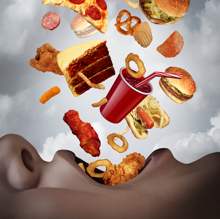 Eating an unhealthy diet as a human mouth binging on high calorie food as a hamburger pizza and cake falling into open hungry lips with 3D illustration elements.