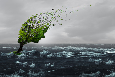 Surviving a storm concept as a battered stressed tree blown by violent winds in flood waters as an anxiety or abuse metaphor to withstand psychological or physical pain with 3D illustration elements. Stock Illustration - 85687122