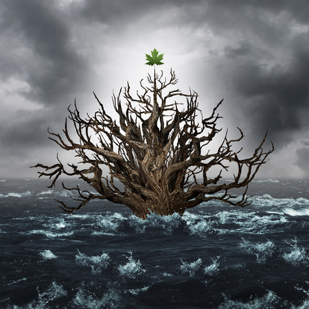 Concept of survival and business endurance as a drowning tree with one leaf above water as a life metapho for persistence to survive and overcome despair in a 3D illustration style. Stock Photo
