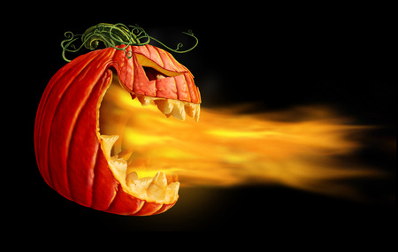 Pumpkin flames on a black background as demon fire blaze scary jack o lantern character in a side view  breathing out hot burning torch as a halloween or horror symbol with 3D illustration elements.