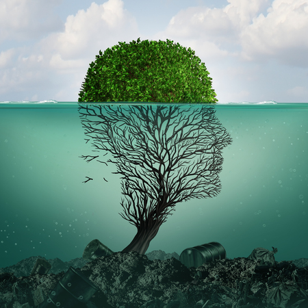 Polluted water contamination with hazardous industrial waste as a tree shaped as a human head underwater with the toxic liquid killing the plant with 3D illustration elements. Stock Photo