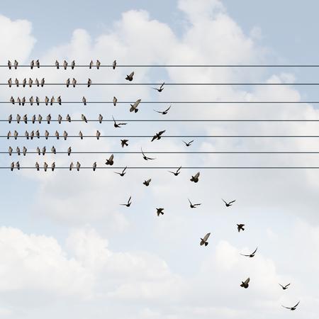 Het starten van een bedrijf die een business team aanwerving als een groeiend lidmaatschap dat zich samenvoegt als vogels op een draad met een groep van rekruten die aan de organisatie toevoegen met 3D illustratieve elementen. Stockfoto