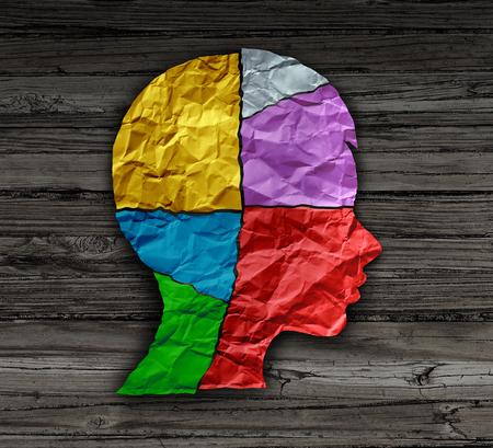 Kinderstemmingspsychologie verandert als een jongere hoofdvorm gemaakt van verfrommeld papier als een metafoor voor de geestelijke gezondheid voor hersenkrakerstoornissen en neurologische chemieonbalans of persoonlijkheidsveranderingen in een 3D-illustratiestijl.