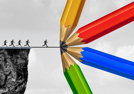 Group drawing a bridge and conquering adversity business concept as people running from a cliff with the help of a team of diverse pencils creating a helping path to success as a concept for bridging the gap with 3D illustration elements.