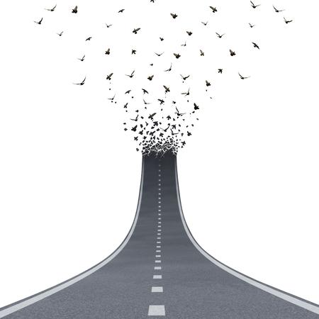 Freedom Road concept as a driving pathway liberty or highway going up and transforming into flying birds as a business metaphor for success or life motivation as a path to liberty or heaven with 3D illustration elements on white.