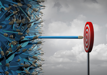 Business reach success and reaching as a symbol for successful communication and marketing as a group of mixed up darts and a stretched one reaching out in a straight line out away from the pack as a leadership metaphor as a 3D illustration.