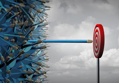 Los negocios alcanzan el éxito y alcanzan como símbolo para la comunicación y el marketing exitosos como un grupo de dardos mezclados y uno estirado que se extiende en línea recta fuera del paquete como una metáfora del liderazgo como ilustración 3D.