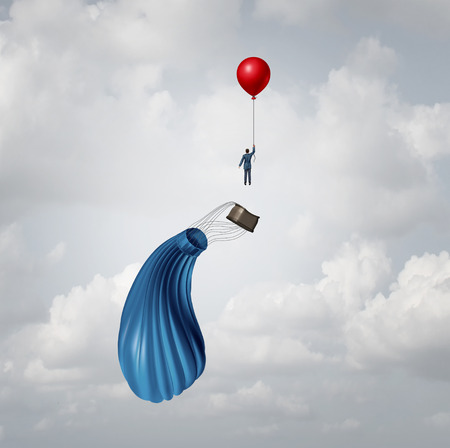 Leaving a failing business concept and plan B strategy as urgent contingency planning as a businessman escaping from a falling hot air balloon as a contingency symbol with 3D illustration elements.