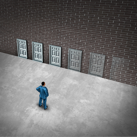 Fading opportunities business concept and limited chances for success opportunity as a group of doors gradually disapearing as a metaphor for losing career choices or job scarcity with 3D illustration elements.