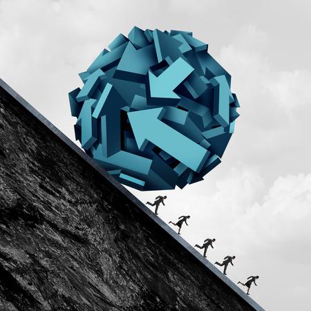 従業員方向応力と会社労働者のトラブル 3 D イラストレーション要素と職場でのストレスのコーポレート シンボルとして矢印図形のボールから逃げてビジネス人々 のグループとして。 写真素材 - 86893295