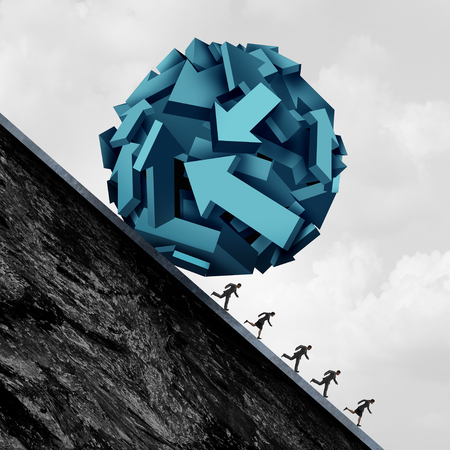 Employee direction stress and company worker trouble as a group of business people running away from a ball of arrow shapes as a corporate symbol for stress in the workplace with 3D illustration elements.