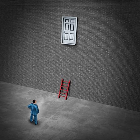 Schwierige Karriere Problem oder Herausforderung und begrenzte Business-Tool-Konzept und Einschränkungen für den Zugang als Geschäftsmann mit einer kleinen Leiter zu einer unzugänglichen Tür mit 3D-Darstellung Elemente.