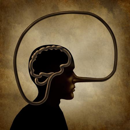 Gehirn eines Lügners und eine akademische Unehrlichkeit oder ein psychologisches Konzept der falschen Vorstellung als Person mit einer langen Lügensymbolnase in einer Art der Illustration 3D. Standard-Bild