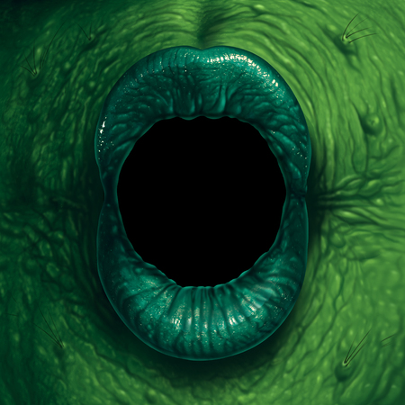 Monster mouth halloween ogre demon closeup with evil green lips with a blank black text area as a nightmare zombie or scary witch concept in a 3D illustration style. Stock Photo
