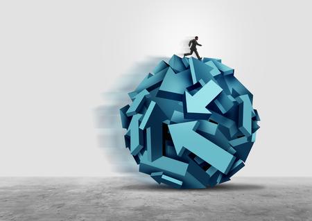 Bedrijfsleider leiderschap als een zakenman die een groep pijlssymbolen in een samenhangende richting beheert als een succesbegeleide metafoor met 3D-illustratieelementen.