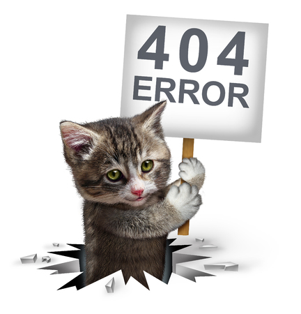 rupture: 404 error page not found concept and a broken or dead link symbol as a kitten cat emerging from a hole holding a sign with text for breaking the network connection resulting in internet search problems. Stock Photo