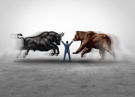 Conseiller en gestion boursière et conseiller financier économique gérant les marchés baissiers et haussiers comme une métaphore des actions financières et boursières en tant que consultant en gestion de fonds qualifiés dans un style d'illustration en 3D.