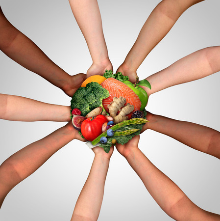 Food friendship and community health eating as a united group of diverse people holding fresh raw healthy ingredients as fish nuts fruit and vegetables in a 3D illustration style.