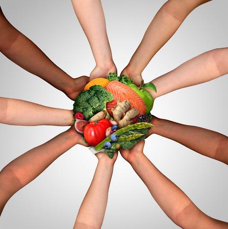 Voedselvriendschap en communautaire gezondheid die als verenigde groep diverse mensen eten die verse ruwe gezonde ingrediënten houden als visnotenfruit en groenten in een 3D illustratiestijl.