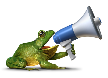 Frog announcer as a green amphibian holding a megaphone or bullhorn shouting a message as a promotion advertising and marketing symbol with 3D illustration elements. Stock Photo