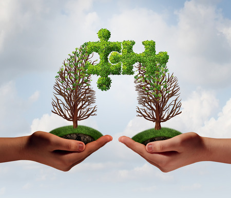 Business puzzle agreement concept as two people connecting together with growing trees merging together shaped as jigsaw pieces integrating with 3D illustration elements.