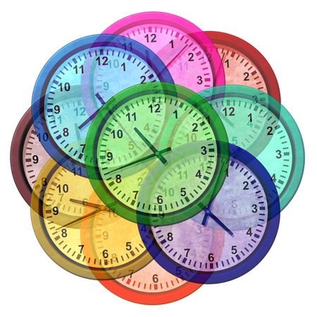 Time zone clocks and world business travel symbol as a group of clock icons representing different international cities as beijing new york moscow and paris as a 3D illustration.