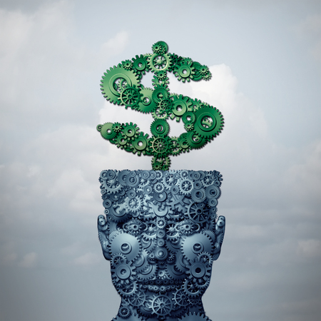 Intelligent money and financial investing intelligence as a head and dollar sign made of gear and cog wheels as a 3D illustration.