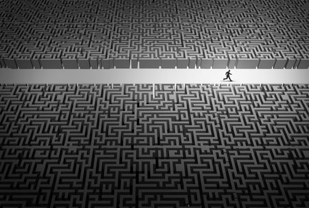 Business strategy pathway concept as a businessman leader running through an opening in a confused labyrinth as a corporate career success metaphor or life path goal with 3D illustration elements. Stock Photo