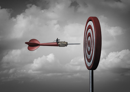 ビジネスの使命目標企業としてブルズアイや 3 D の図要素を持つ人生客観的のメタファーに焦点を当てた dart のマネージャーがターゲットします。