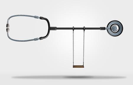 Kind gezondheidszorg symbool en pediatrische of kinderarts arts concept als een stethoscoop met een kind schommel als een 3D-afbeelding.