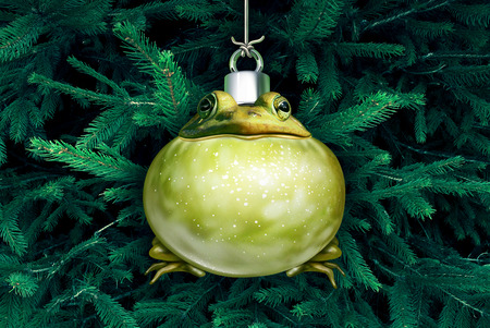 Christmas frog funny holiday ornament hanging on a festive pine tree with 3D illustration elements. Stock Photo