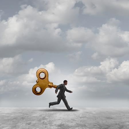 marioneta: Llave de viento empresarial que se ejecuta con un mecanismo de relojería o mecanismo de cuerda que controla a un trabajador como un robot con elementos de ilustración 3D. Foto de archivo
