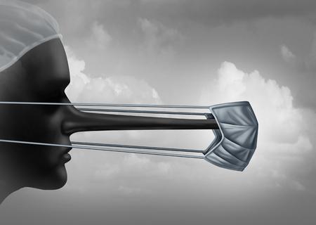 Concepto de corrupto médico y hospital deshonesto o símbolo de mentiras médicas esparcimiento como un médico con una nariz larga como una metáfora de la medicina criminal e inmoral en un estilo de ilustración 3D.