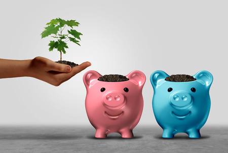 Choosing a financial bank and banking options or investing choice dilemma concept as a human hand holding a sapling deciding where to invest with 3D illustration elements.
