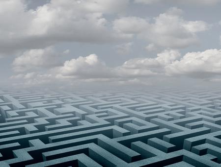 미로 배경 및 3D 그림으로 추상 미로 관점 장면.