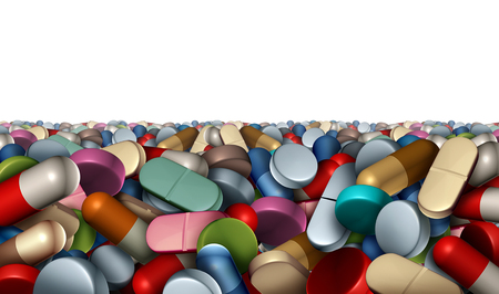 Medicine and pharmacy or pharmaceutical background as a group of pills and capsules or vitamin supplements isolated on a white background as a 3D illustration.