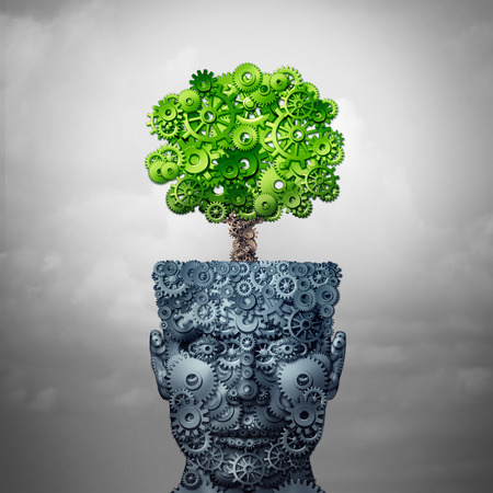 Technology growth and business training and computing development as artificial intelligence concept as a human head and growing tree made of industry gears as a 3D illustration. Stock Photo